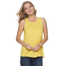 Women's Apt. 9® High Neck Swing Tank  Color: Yellow Stripe Size: Choose a Size | Kohl's