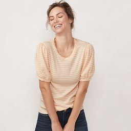 Women's LC Lauren Conrad Balloon Sleeve Tee  Color: Peach And White Size: SMALL | Kohl's