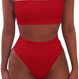Women's Removable Strap Wrap Pad Cheeky High Waist Bikini Set Swimsuit | Amazon (US)