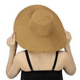 Women's Summer Lady Floppy Straw Hat Sun Beach Fashion Cap Bow Foldable Wide Brim | Walmart (US)