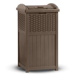 Suncast 33 Gallon Hideaway Trash Can for Patio - Brown   Walmart (US)