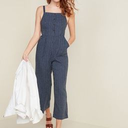 Button-Front Linen-Blend Striped Cami Jumpsuit for Women | Old Navy (US)