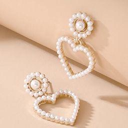 Faux Pearl Heart Drop Earrings | SHEIN