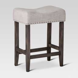 """24"""""""" Rumford Saddle Counter Stool with Wood Linen Gray - Threshold 