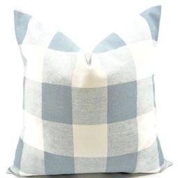 FARMHOUSE DECOR Blue Pillow Cover. Cashmere Blue  & White. Buffalo Check. Country Style Pillow Ca... | Etsy (US)