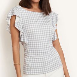 Gingham Ruffle Sleeve Shell | Ann Taylor | Ann Taylor (US)