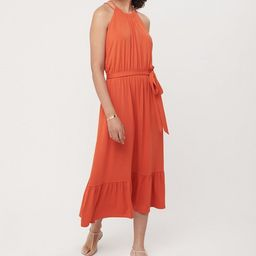 Flounce Halter Midi Dress | LOFT