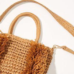 Fringe Straw Crossbody Bag | LOFT