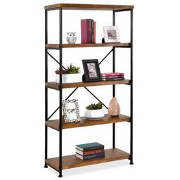 5-Tier Industrial Bookshelf w/ Metal Frame, Wood Shelves   Best Choice Products