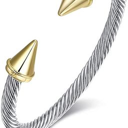 Ofashion Bullet Ends Cable Wire Bracelets for Women | Amazon (US)