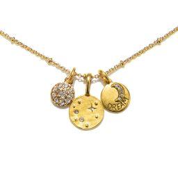 Dreamy Moon Talisman Charm Necklace   Sequin