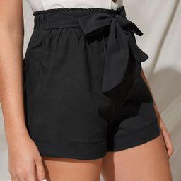 Tie Front Frill Waist Shorts   SHEIN