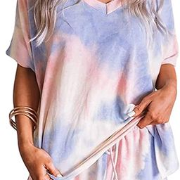 Sidefeel Women Tie Dye Printed Sleepwear Lounge Short Sleeve Pajama Set Night Shirt with Shorts | Amazon (US)