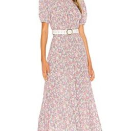 FAITHFULL THE BRAND Beline Midi Dress in Pink Vionette Floral from Revolve.com | Revolve Clothing (Global)