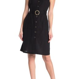 Button Front Square Neck Midi Dress | Nordstrom Rack