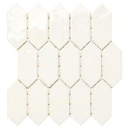LuxeCraft 11 in. x 12 in. x 6.35mm White Ceramic Picket Mosaic Wall Tile (0.73 sq. ft. / piece) | The Home Depot