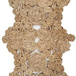 """LR Home Jute Abstract Table Runner, 1'-4"""" x 6'-8"""", Natural 