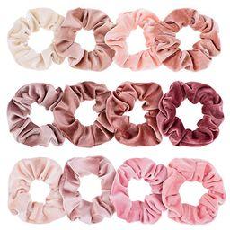 Whaline Blush Theme Hair Scrunchies Velvet Elastics Pink Lovers Scrunchy Bobbles Soft Hair Bands ... | Amazon (US)