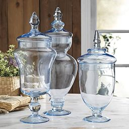 Classic Home Glass Blue Apothecary Jars, Wedding Candy Buffet Containers (Set of 3) | Amazon (US)