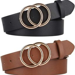 Pack 2 Women Belts for Jeans with Fashion Double O-Ring Buckle and Faux Leather   Amazon (US)