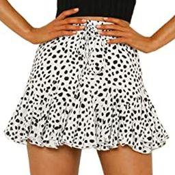 Women's High Waist Plaid Swing Ruffle Frill Mini Bodycon Skirt Gingham Dress | Amazon (US)