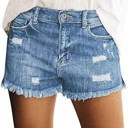 Women's Mid Rise Shorts Frayed Raw Hem Ripped Denim Jean Shorts | Amazon (US)