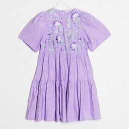 & Other Stories tiered and embroidered mini dress in lilac | ASOS (Global)