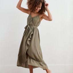 Aerie Ruffle Wrap Midi Dress | American Eagle Outfitters (US & CA)