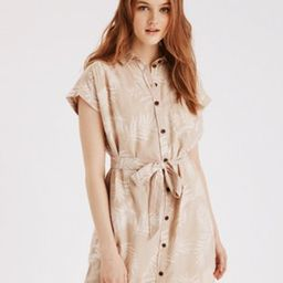 AE Tropical Tie Waist Shirt Dress | American Eagle Outfitters (US & CA)