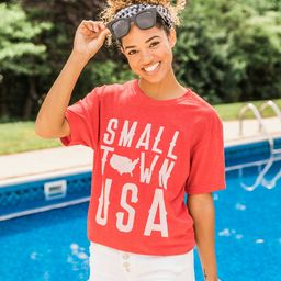 Small Town USA Red Graphic Tee   The Pink Lily Boutique