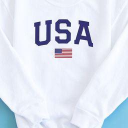 Athletic USA Flag Youth Sweatshirt White PRE-MADE   The Pink Lily Boutique