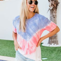The Best Of You Tie Dye Blouse Blue/Red   The Pink Lily Boutique