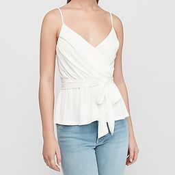 Pleated Wrap Front Peplum Cami   Express