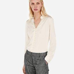Slim Ruffle Covered Button Portofino Shirt   Express