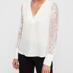 Lace Sleeve V-neck Top   Express
