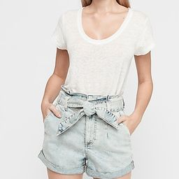 Super High Waisted Pleated Tie Paperbag Jean Shorts   Express