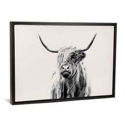 iCanvas Portrait of a Highland Cow 18-Inch x 26-Inch Canvas Wall Art with Black Frame | Bed Bath & Beyond