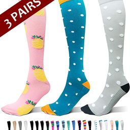 3-Pair Compression Socks (15-20mmHg) for Men & Women | Amazon (US)