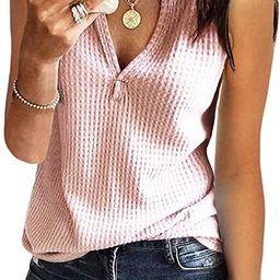 Womens Tank Tops V Neck Waffle Knit Summer Casual Sleeveless Loose Tee Shirts   Amazon (US)