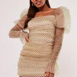 Missguided - Cream Polka Dot Organza Puff Long Sleeve Mini Dress | Missguided (US & CA)