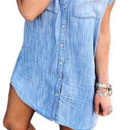 Women's Loose Denim Blouse Mini Dress Button Down Lapel Short Sleeve T-Shirt Dress Tops with Pock... | Amazon (US)