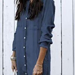 Women Denim Shirt Dresses Long Sleeve Distressed Jean Dress Button Down Casual Tunic Top | Amazon (US)