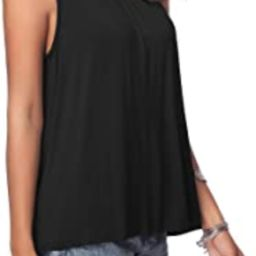 Women's Summer Sleeveless Pleated Back Closure Casual Tank Tops | Amazon (US)