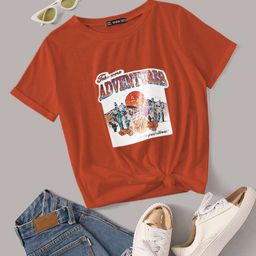 Letter & Plants Graphic Rolled Cuff Tee | SHEIN
