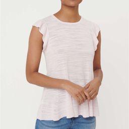 Striped Ruffle Sleeve Peplum Sweater | LOFT | LOFT