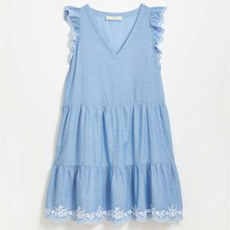 CHAMBRAY CONTRAST EMB DRESS | LOFT | LOFT