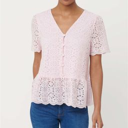 Lace Button Peplum Top | LOFT | LOFT
