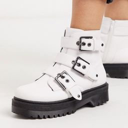 Qupid chunky buckle flat boots in white   ASOS (Global)