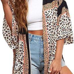 Women's Kimono Cardigans Leopard Print Tops Chiffon Summer Shirts Loose Casual Beach Cover ups | Amazon (US)