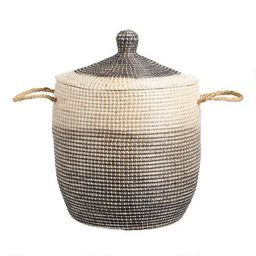 Ombre Seagrass Amelia Tote Basket with Lid | World Market